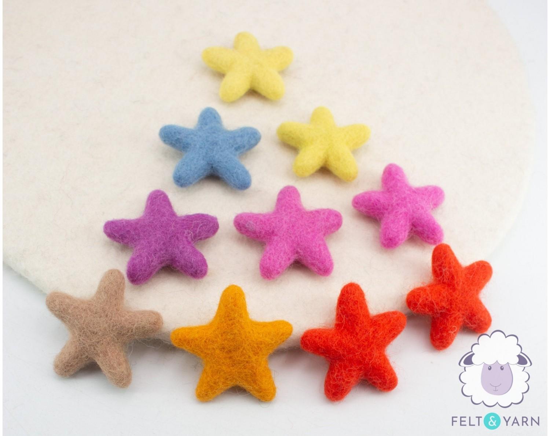 Colorful Felted Stars for Xmas & Valentine - Felt & Yarn