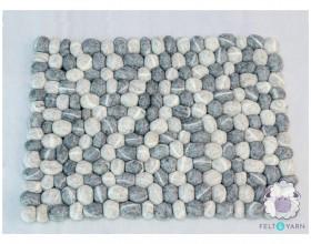 Gray and White Pebble Rug