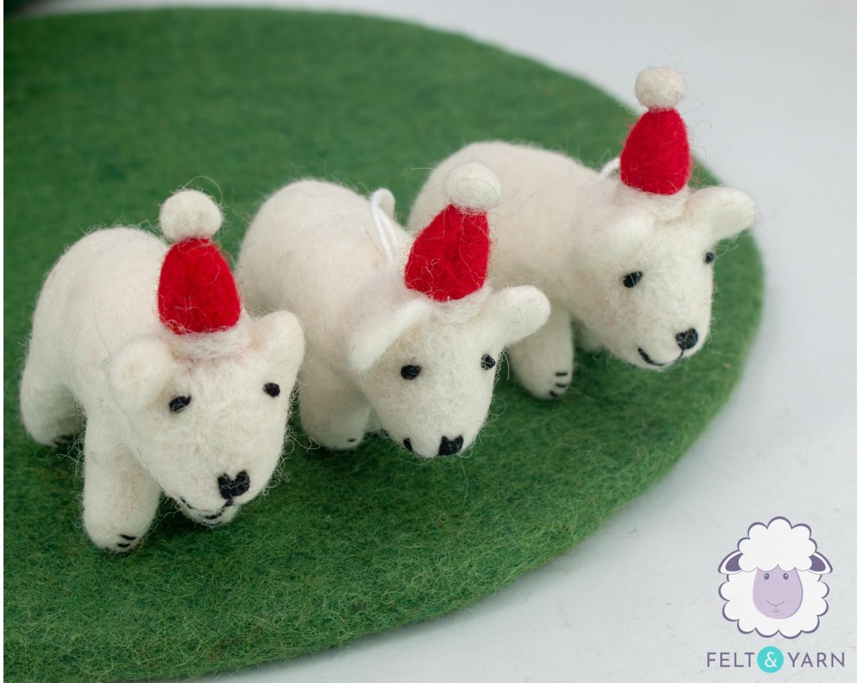 Felt Christmas Sheep for Christmas Decoration - Felt & Yarn