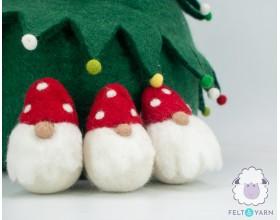 Needle Felted Gnomes for Christmas Celebration - Felt & Yarn