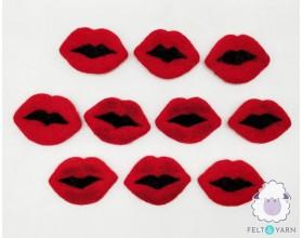 Red Plump Felt Valentine Lips for Loved Ones - Felt & Yarn