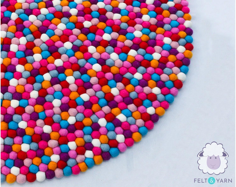 Eight Color Felt Balls Rug for Homes & Offices-Felt & Yarn