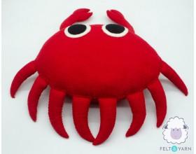 Cute Crab Felt Pillow for Kids - Felt & Yarn
