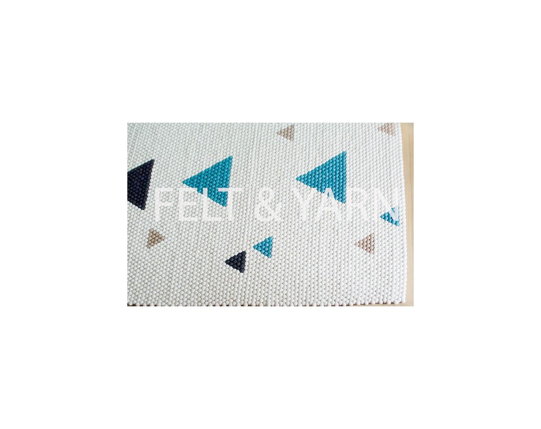 White Felt Ball Rug for Home & Office Décor- Felt & Yarn