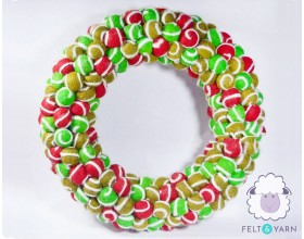 Beautiful Swirl Felt Ball Garland for Christmas- Felt & Yarn