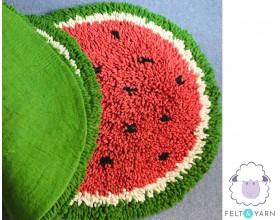 Unique Full Watermelon Shag Rug - Felt & Yarn