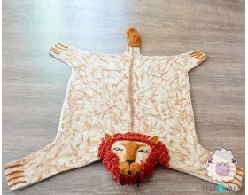 Wonderful Lion Felt Sheet Rug for Children Room- Felt & Yarn