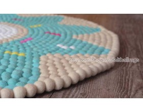 Off-White and Blue Flower Felt Ball Rug - Felt & Yarn
