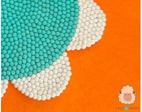 Flower Shaped Felt Ball Mat for Home Décor - Felt & Yarn