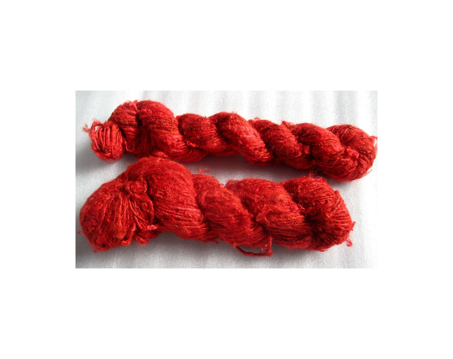 Recycled solid red color banana yarn