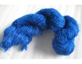 Curious Blue color Recycled silk yarn Grade B
