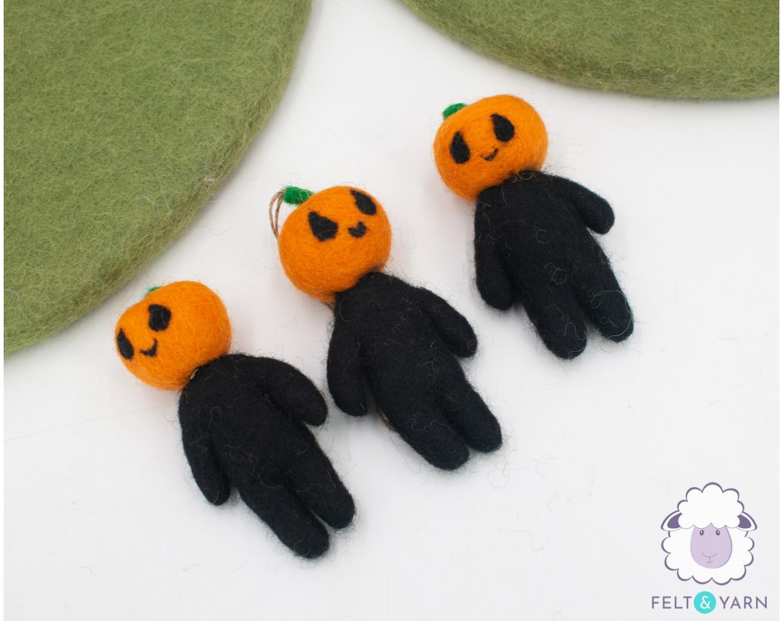Halloween Felt Pumpkin Head Man - Felt & Yarn