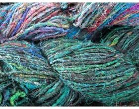 Finest  Recycled Silk Yarn bluish color