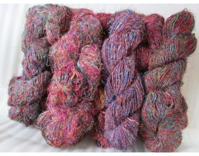 Recycled Silk Yarn grade A Red mix color