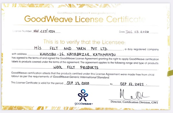 GoodWeave Certificate